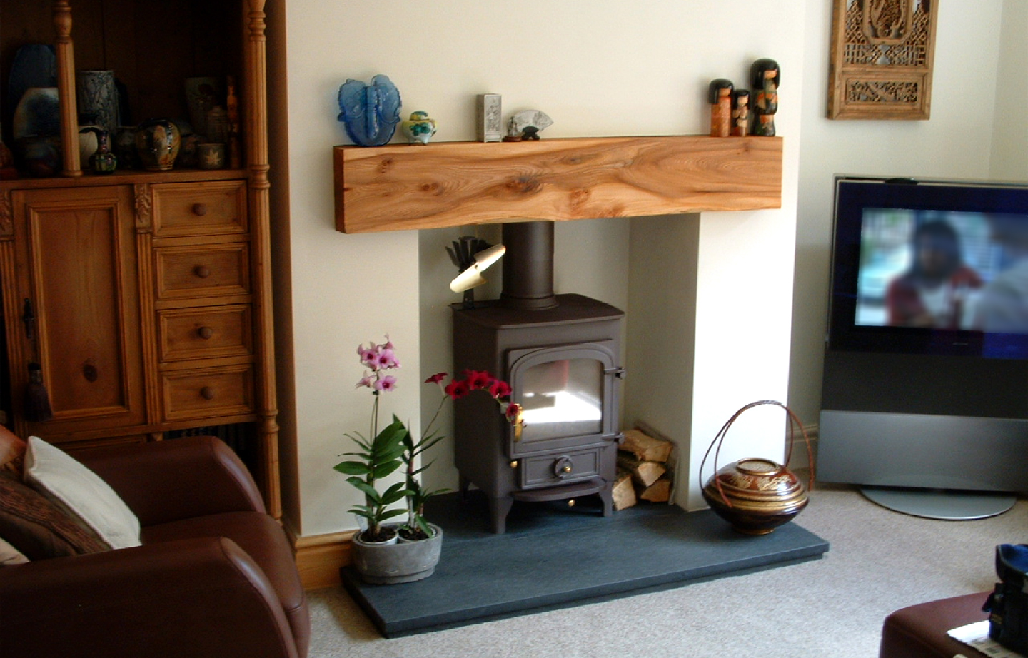 Elm mantel fireplace rustic wooden sleeper lintel thomson timber scotland fireplace thomson timber - Fireplace mantel piece ...