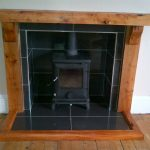 wooden fire surround fireplace mantel
