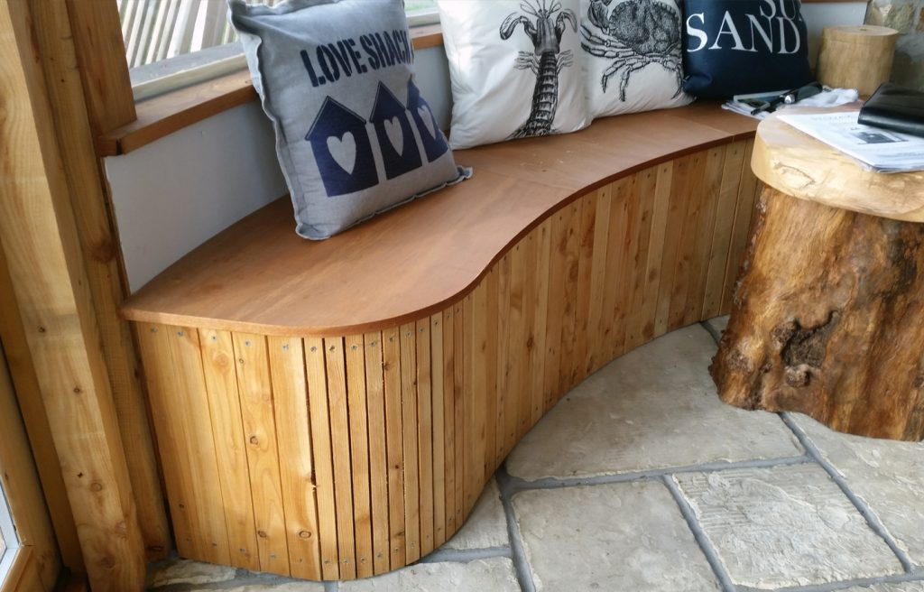 Custom wooden seating benches elm larch rustic