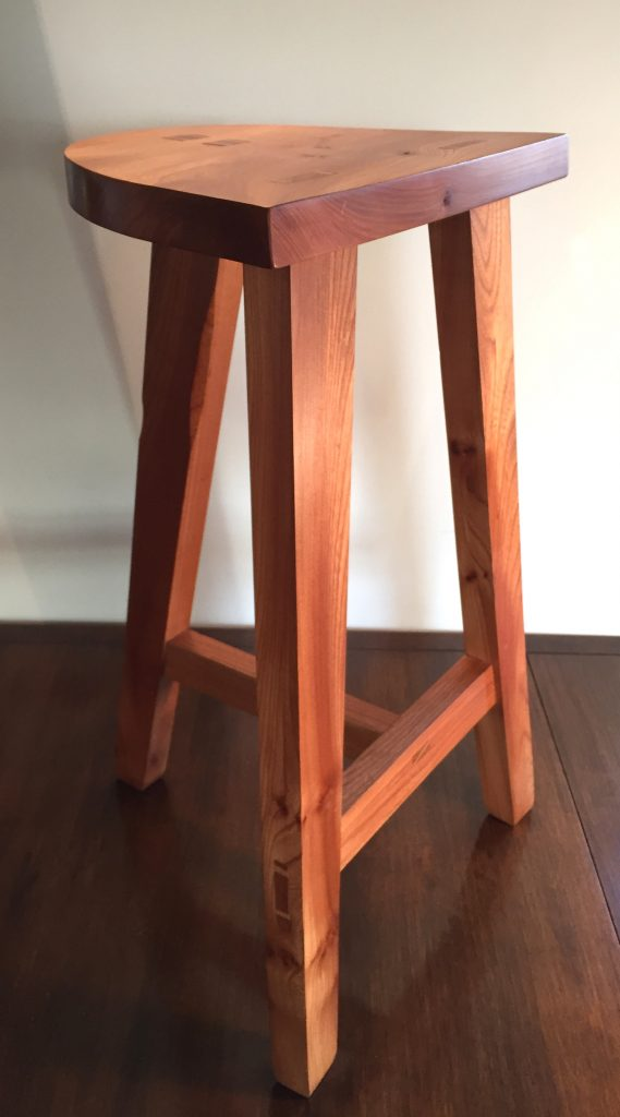 Elm sleek designed stool handmade craig thomson Scotland