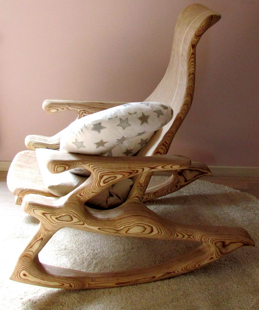 Carved rocking chair plywood furniture