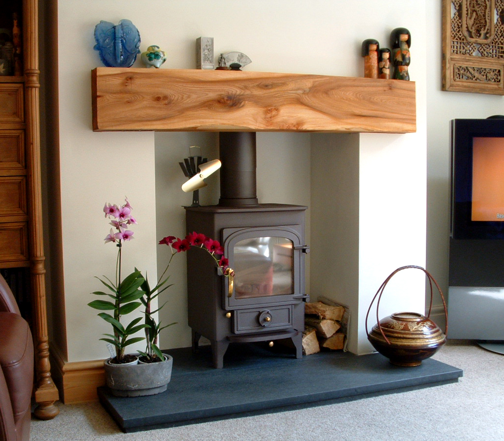 Wooden Mantel Elm Fireplace Logburning Stove Scotland Timber