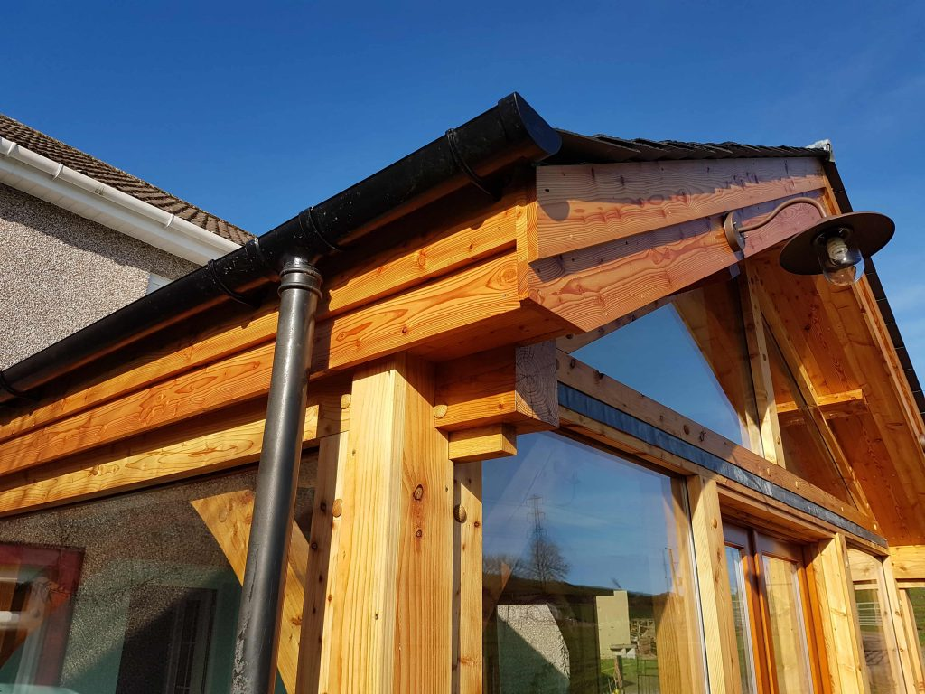 gutter detail timber extension sunroom Fife