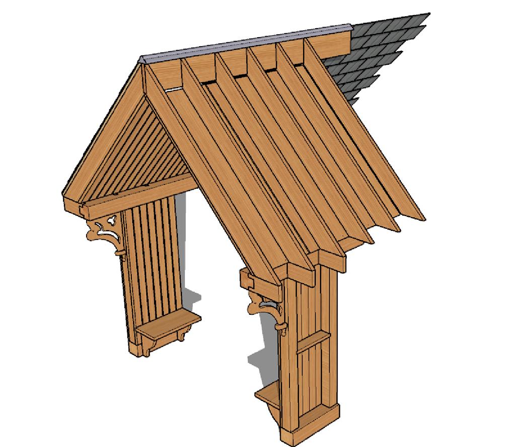Sketchup cutaway porch design Scotland