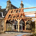 Traditional timber extensions frame raising Scotland
