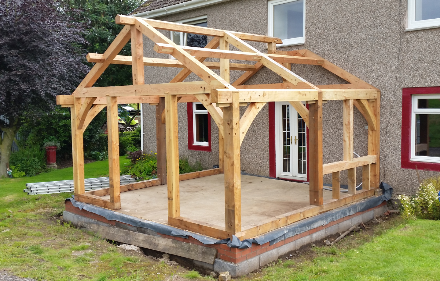 Farmers timber frame joinery scotland larch construction extension