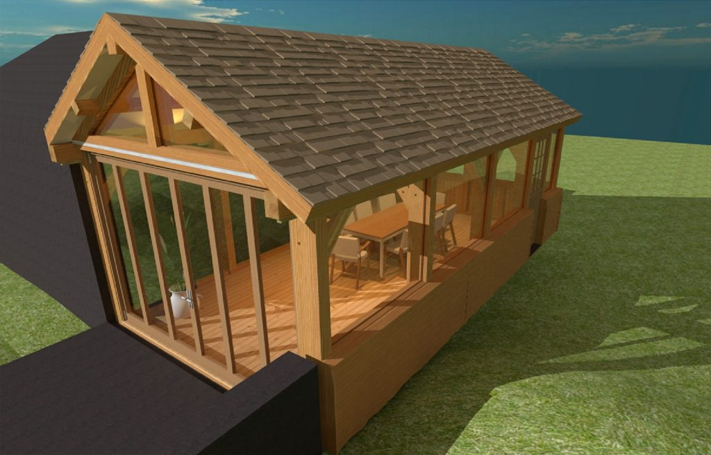 external render 3D light skecthup timber framing scotland