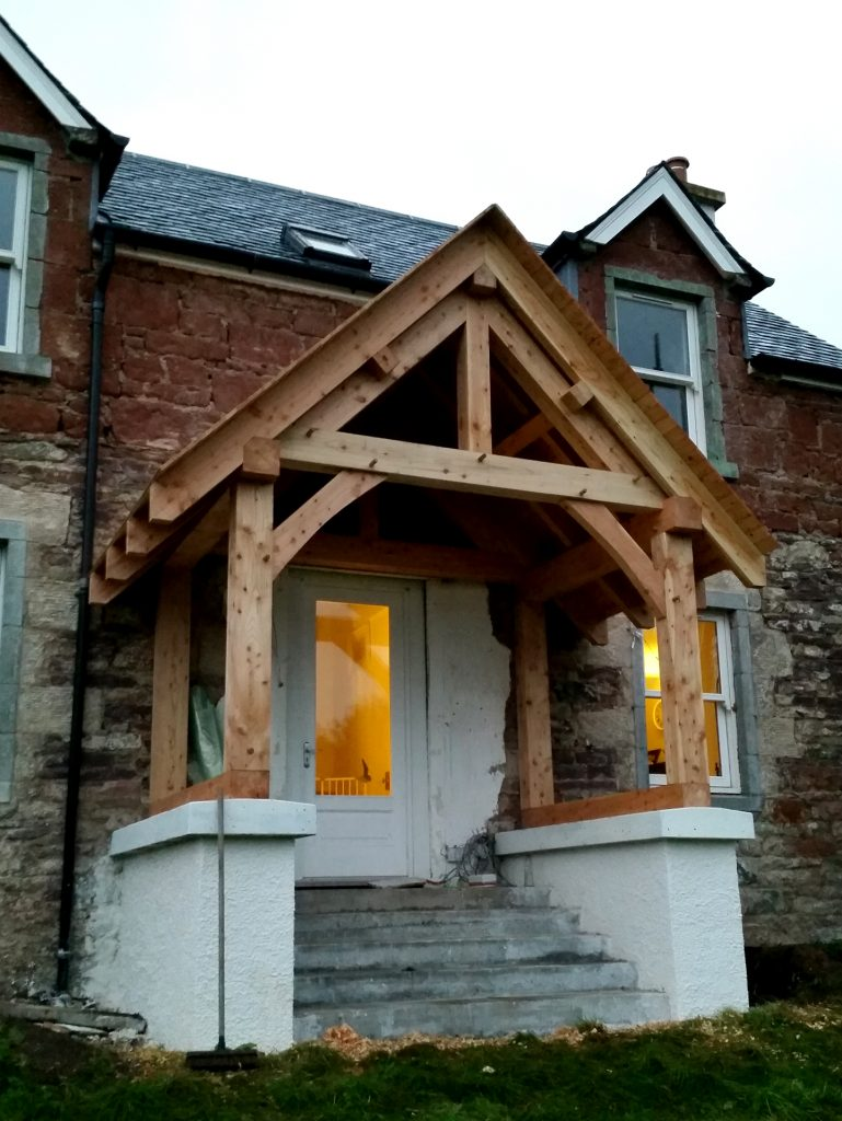 Traditional Timber Extentsion Porch completed Glasgow Scotland