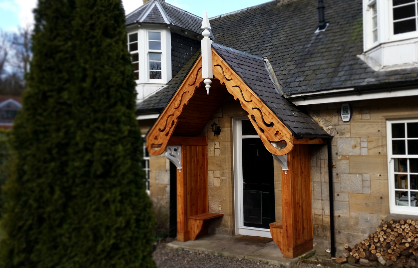 Front porch timber extension larch framing Scotland