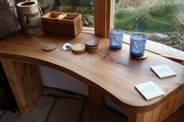 Window desk custom made elm solid wood contemporary furniture scotland