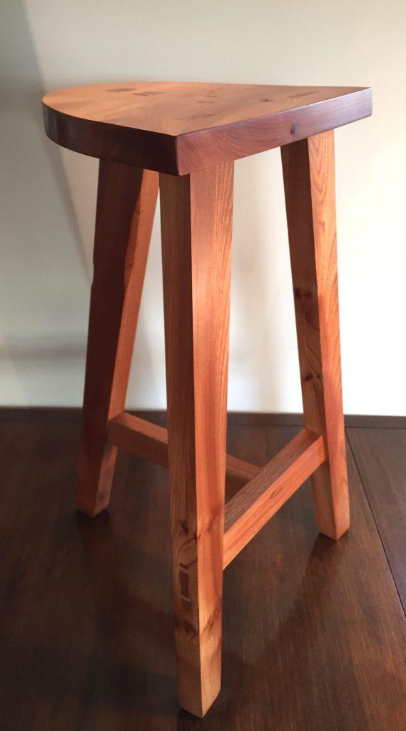 Elm sleek designed stool handmade craig thomson Scotland