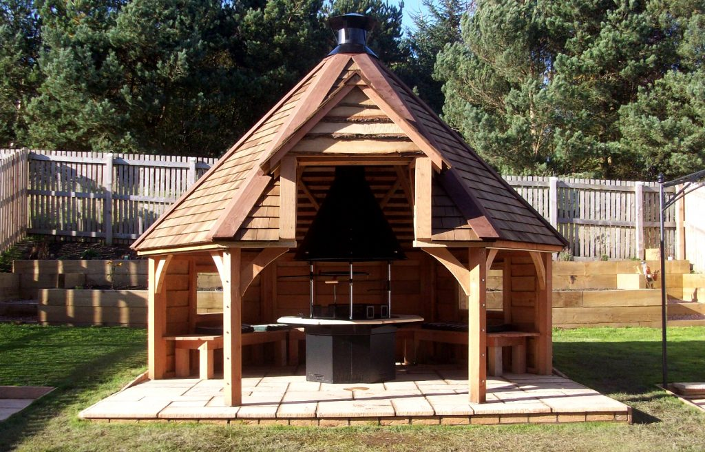 BBQ Barbeque hut traditional timber framing Scotland