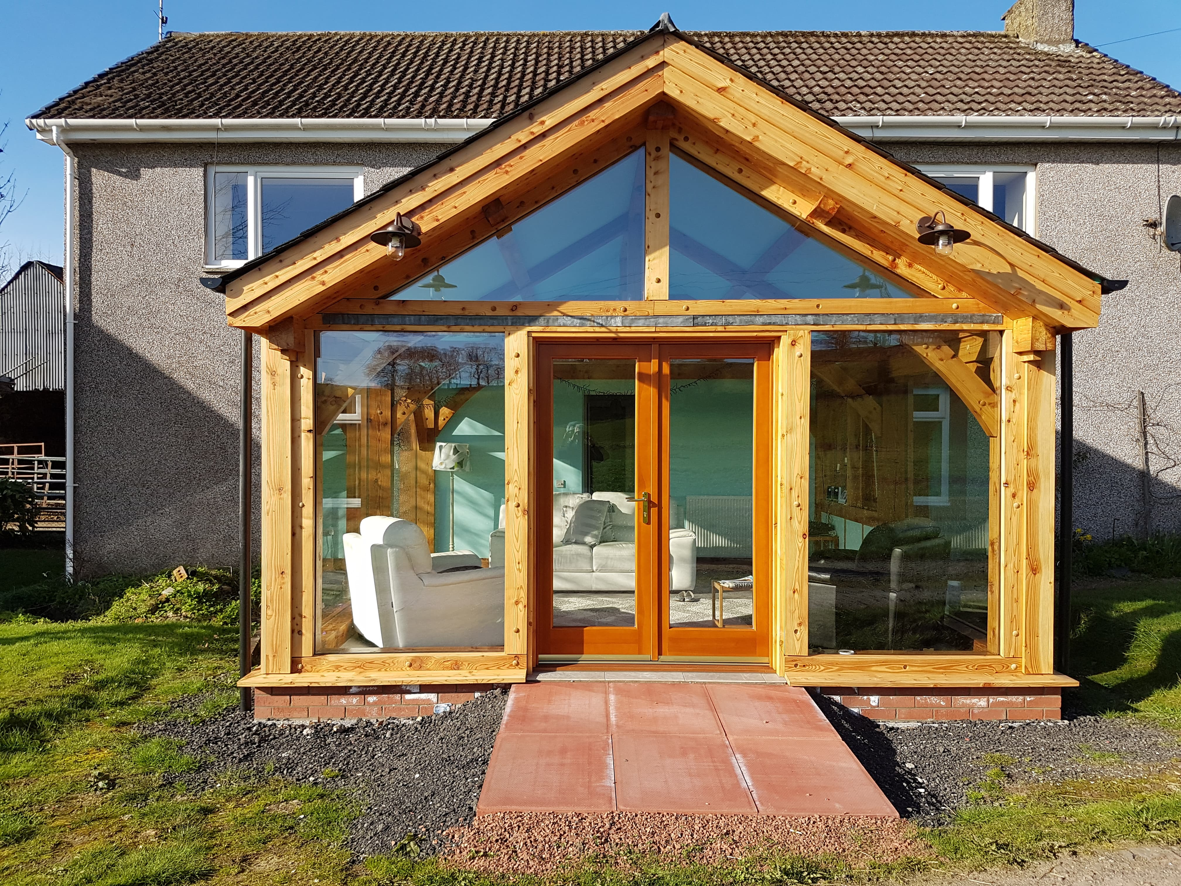 Farmhouse timber frame extension larch scotland