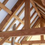 Interior post and beam oak larch timber framing Scotland
