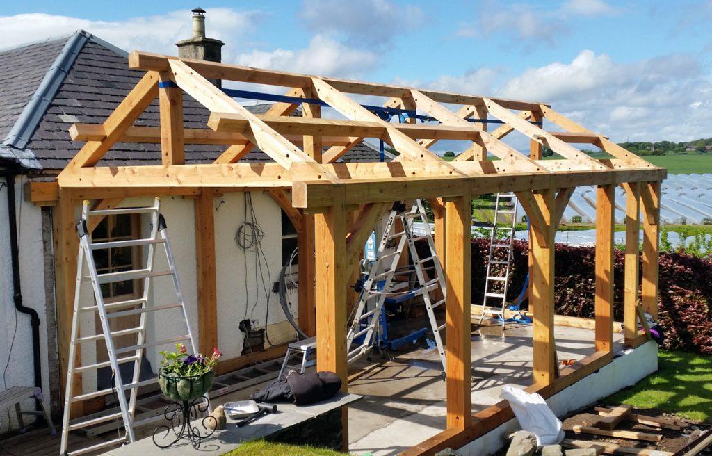 timber framing scotland timber trusses assembled Tayport sunshine