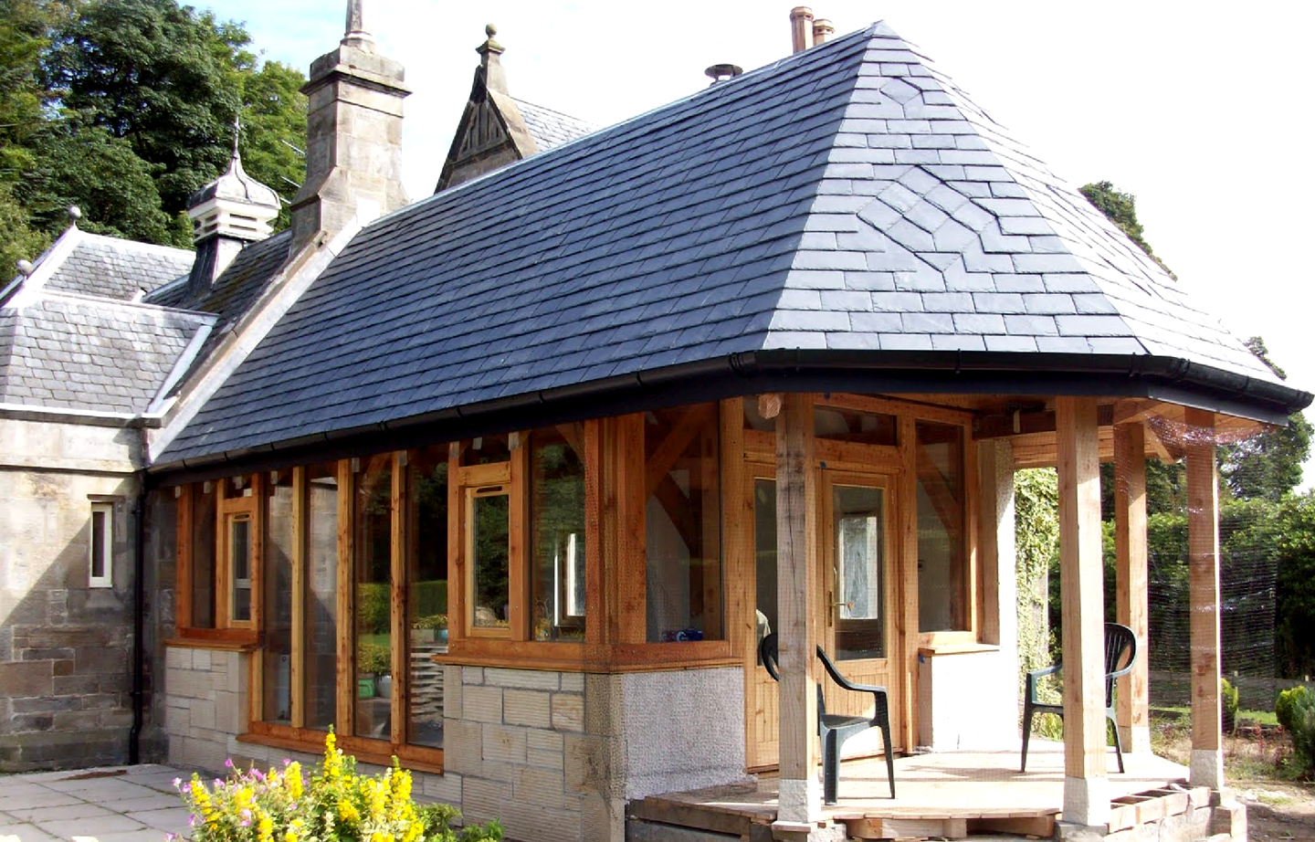 Timber extension slate roof and glazing Scotland