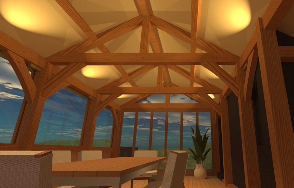 interior render sketchup timber frame
