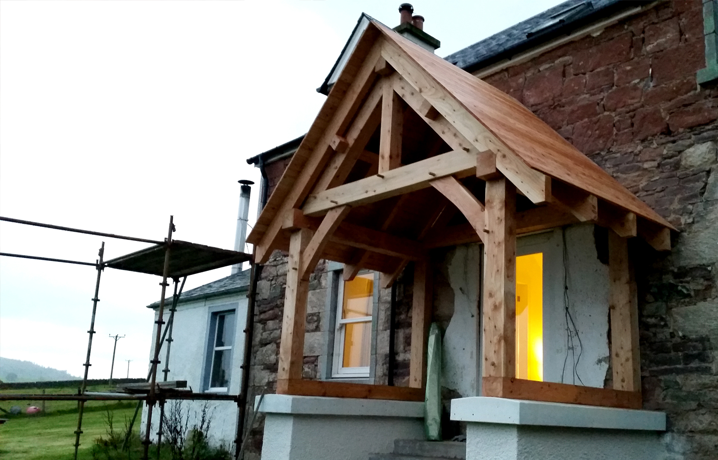 Timber framing porch larch